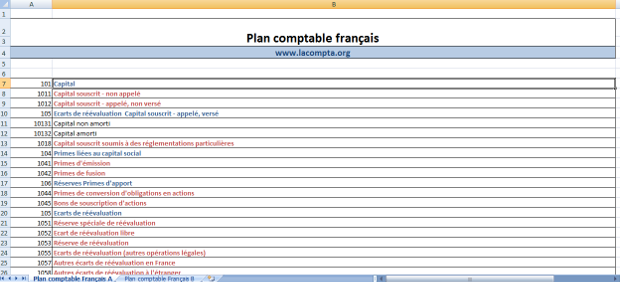 plan comptable excel